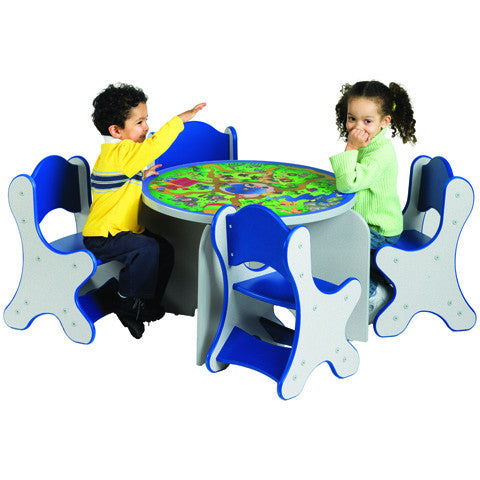SAFARI ADVENTURE TABLE & 4 BLUE CHAIRS - SPECKLETONE FINISH