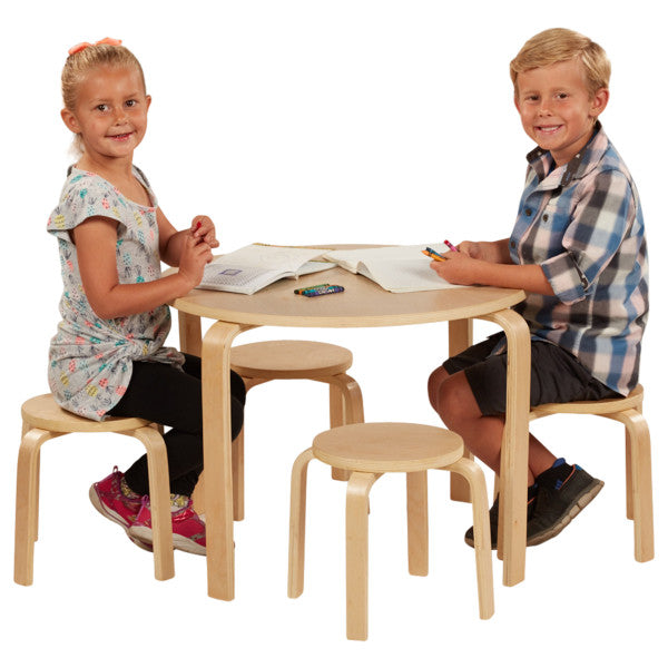 Bentwood Table and Stools Set, Natural