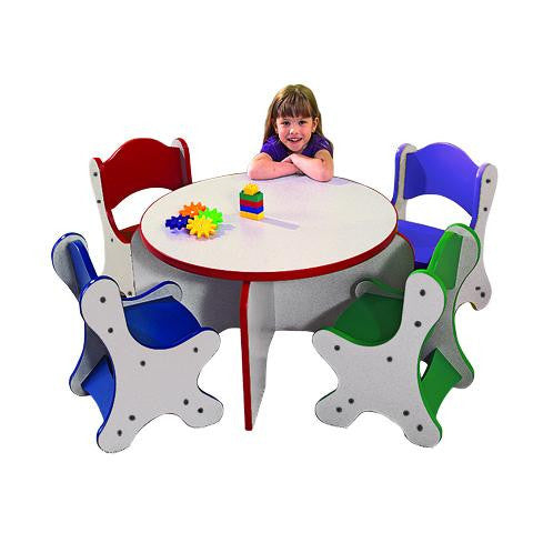FRIENDS TABLE & 4 CHAIRS, 1 EACH COLOR - RAINFOREST FINISH
