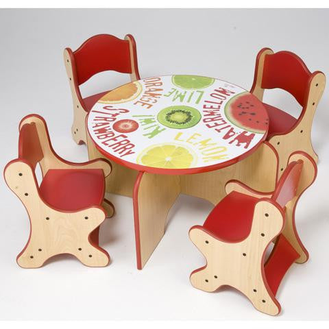 FRESH FRUIT TABLE & 4 RED CHAIRS - RED ON MAPLE FINISH