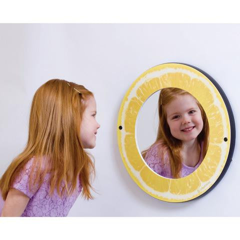 Round mirror with citrus themed frame - lemon
