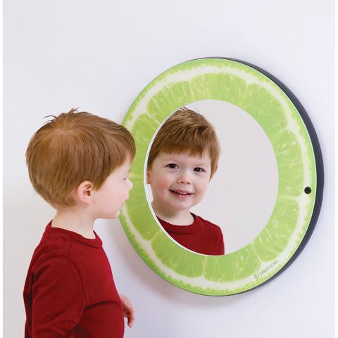 Round mirror with citrus themed frame - lime