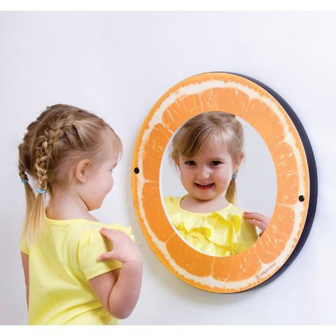 Round mirror with citrus themed frame - orange