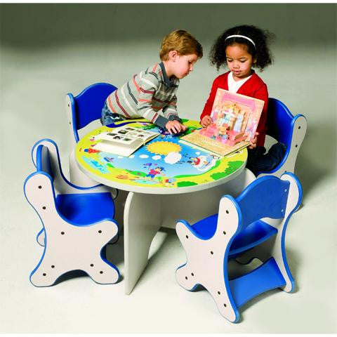HARMONY PARK TABLE & 4 BLUE CHAIRS - SPECKLETONE FINISH