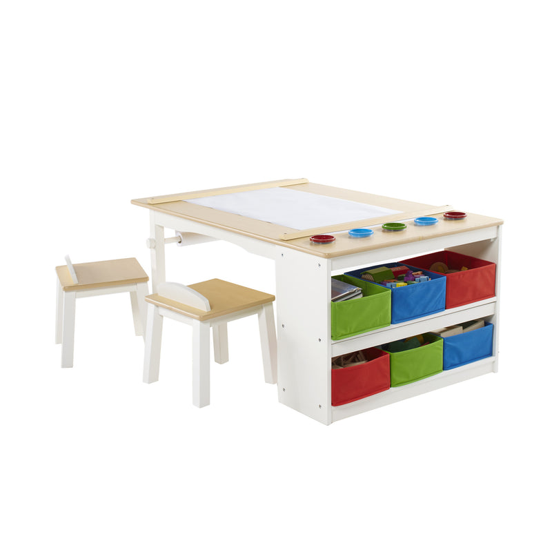 Art Center, desk, stools and storage space