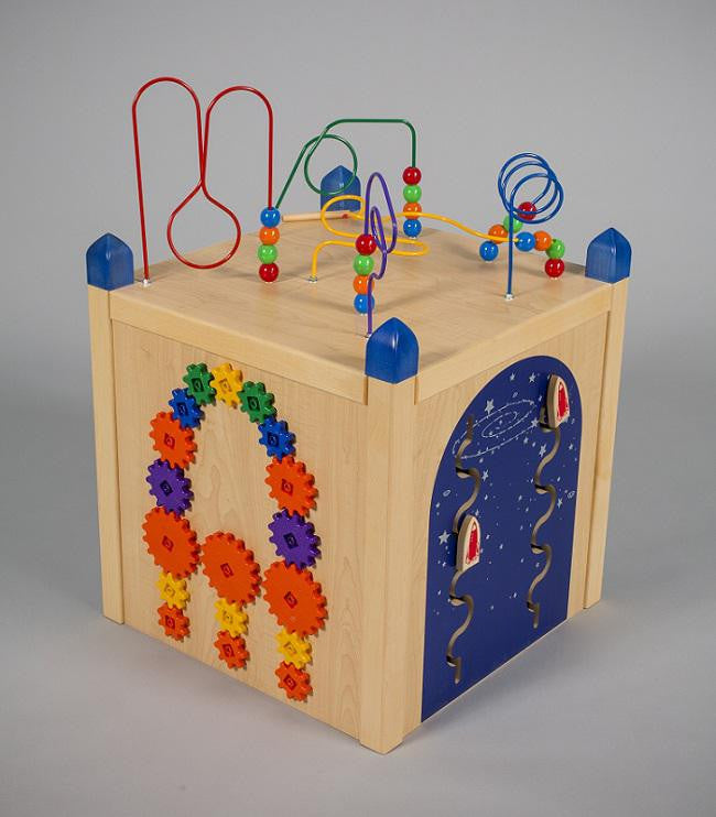 Four panel play cube with wire game on top, play panels on each side
