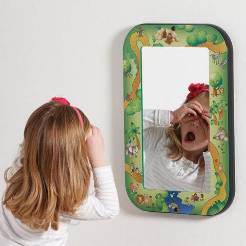 Mirror with safari themed frame