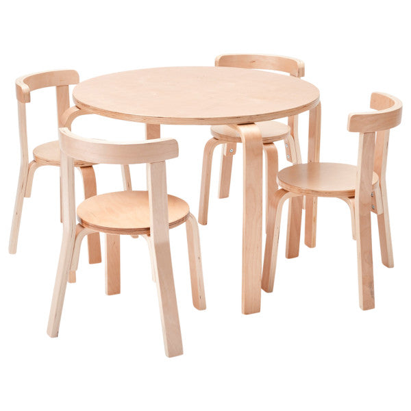 Bentwood Table Curved Back Table and Chair Set-natural