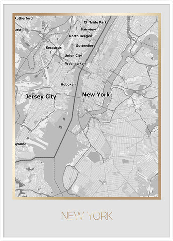 map new work. Poster new york gold