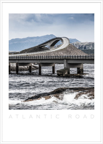 The atlantic road in Møre og Romsdal. Poster of the atlantic road