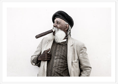 Photo of a man smoking cigarr in Havanna. Poster Cuba