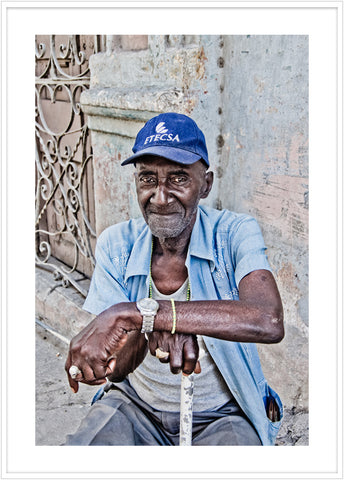 Photo of a Cigarr seller in Havanna. Portrait poster