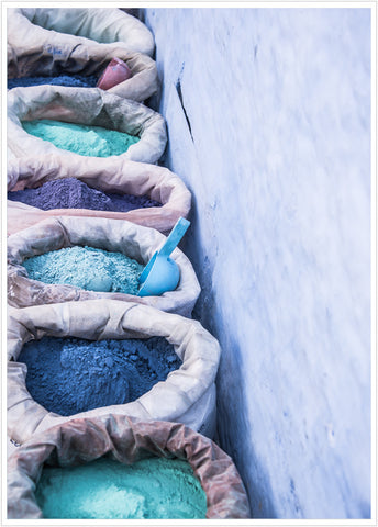 Color powder in Chefchaouen, Morocco. Poster