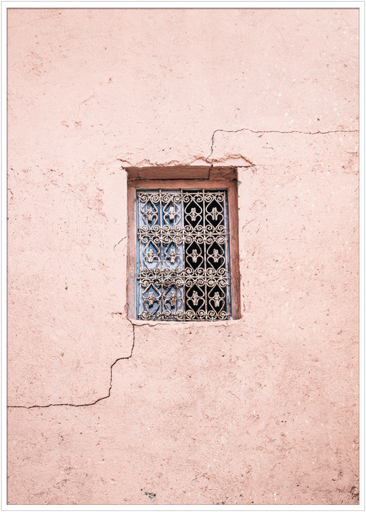 Old window with cracked pink wall, Morocco. Poster