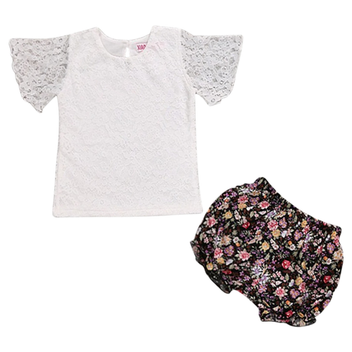 2pcs Floral Sunsuit