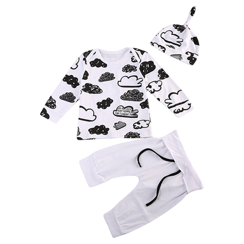 B&W Clouds 3pcs Clothing Set
