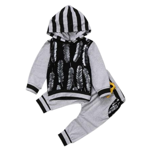 Feather Hooded Clothing Set