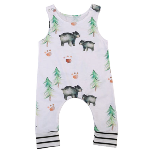 Bear & Trees White Romper