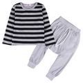Black & Gray Striped Clothing Set