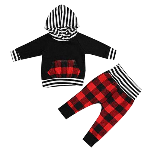 Black & Red Striped Hooded Clothing Set