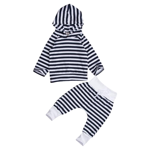 Striped Hooded Clothing Set