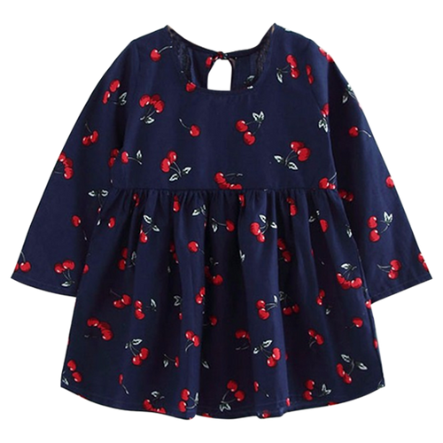 Cute Cherry Print Blue Dress