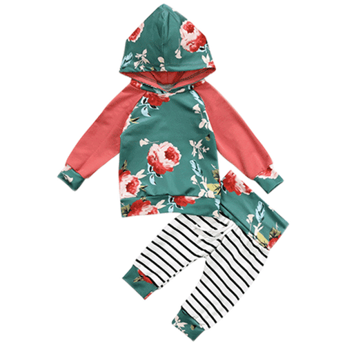 Floral Green Hooded Clothing Set