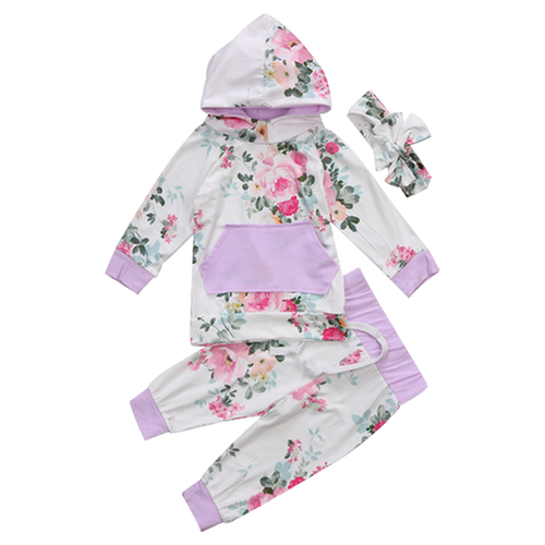 Floral Hooded 3pcs Clothing Set