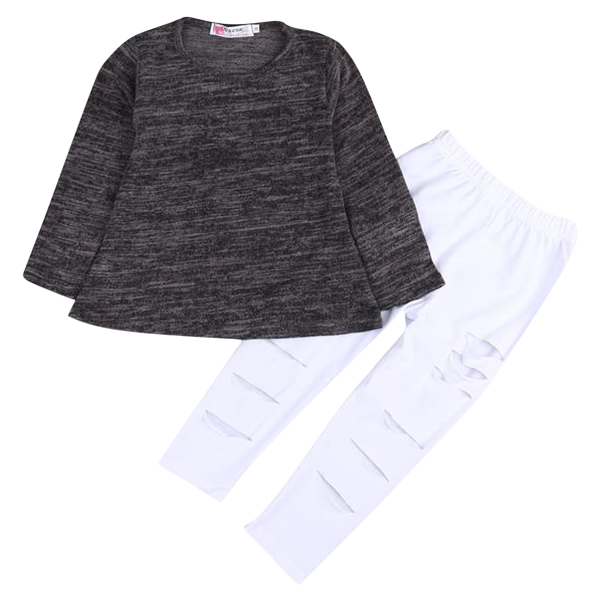 Gray Top Hole Pants Clothing Set