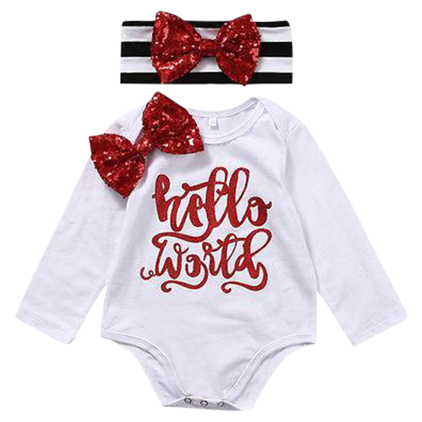 Hello World Red Ribbon Bodysuit