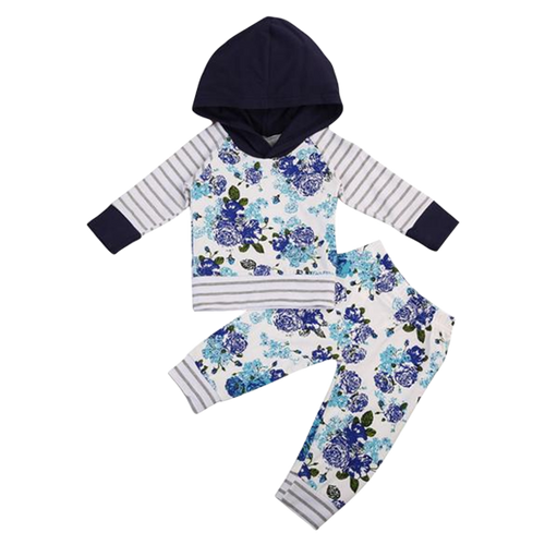 Floral Hooded Clothing Set