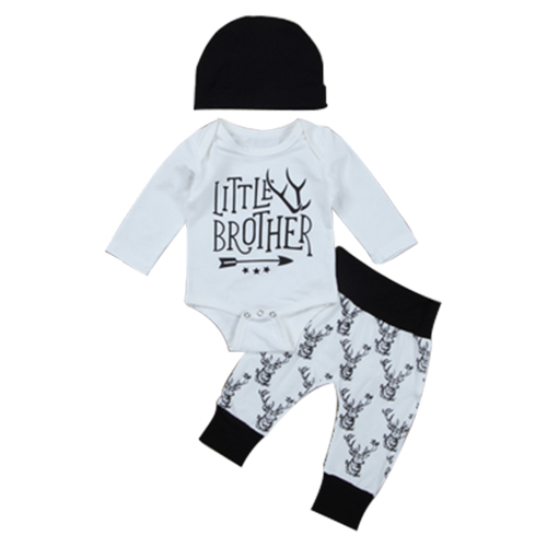 Little Brother Deer White 3pcs Clothing Set