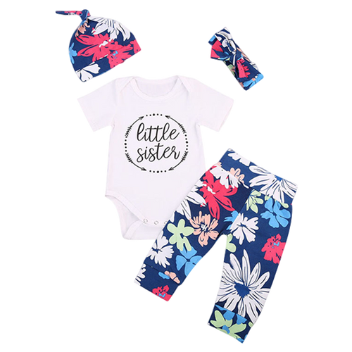 Little Sister Floral 4pcs Clothing Set