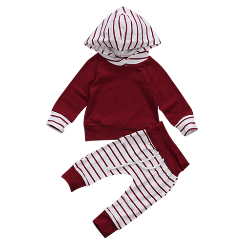 Red Striped Hooded Clothing Set
