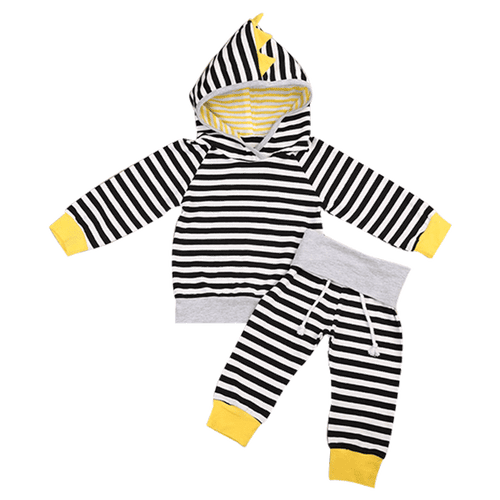 Yellow & Black Striped Hooded Clothing Set