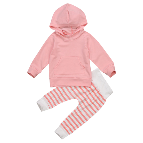 Striped Pants Hooded Clothing Set