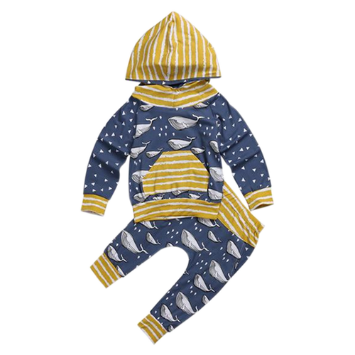 Whale & Triangle  Hooded Clothing Set