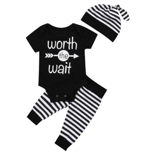 Worth The Wait B&W 3pcs Bodysuit Set