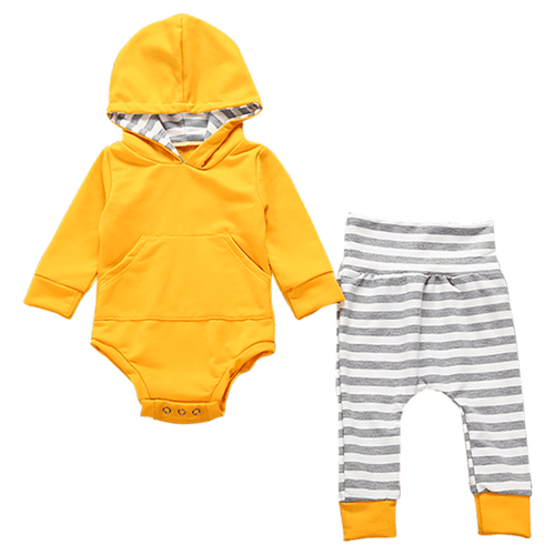 Yellow with Stripes Bodysuit Hooded Set