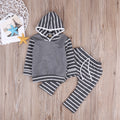 Cute Gray Striped Clothing Set