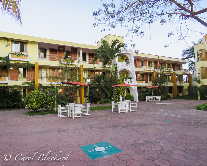 Hotel courtyard in San Blas