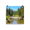 Peaceful mountain stream framed by pines and distant mountain  - print