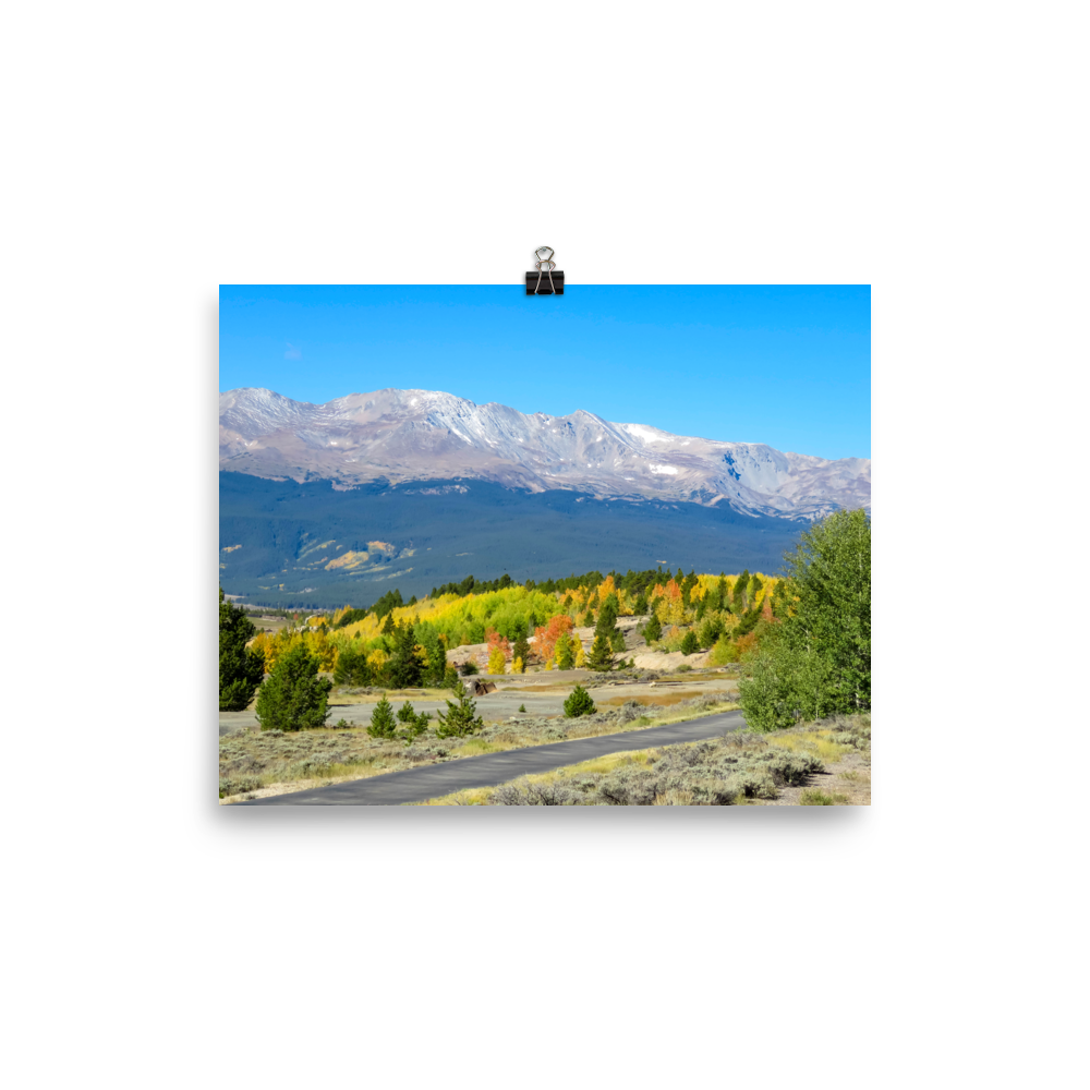 Yellow fire of aspens with distant Continental Divide behind - print