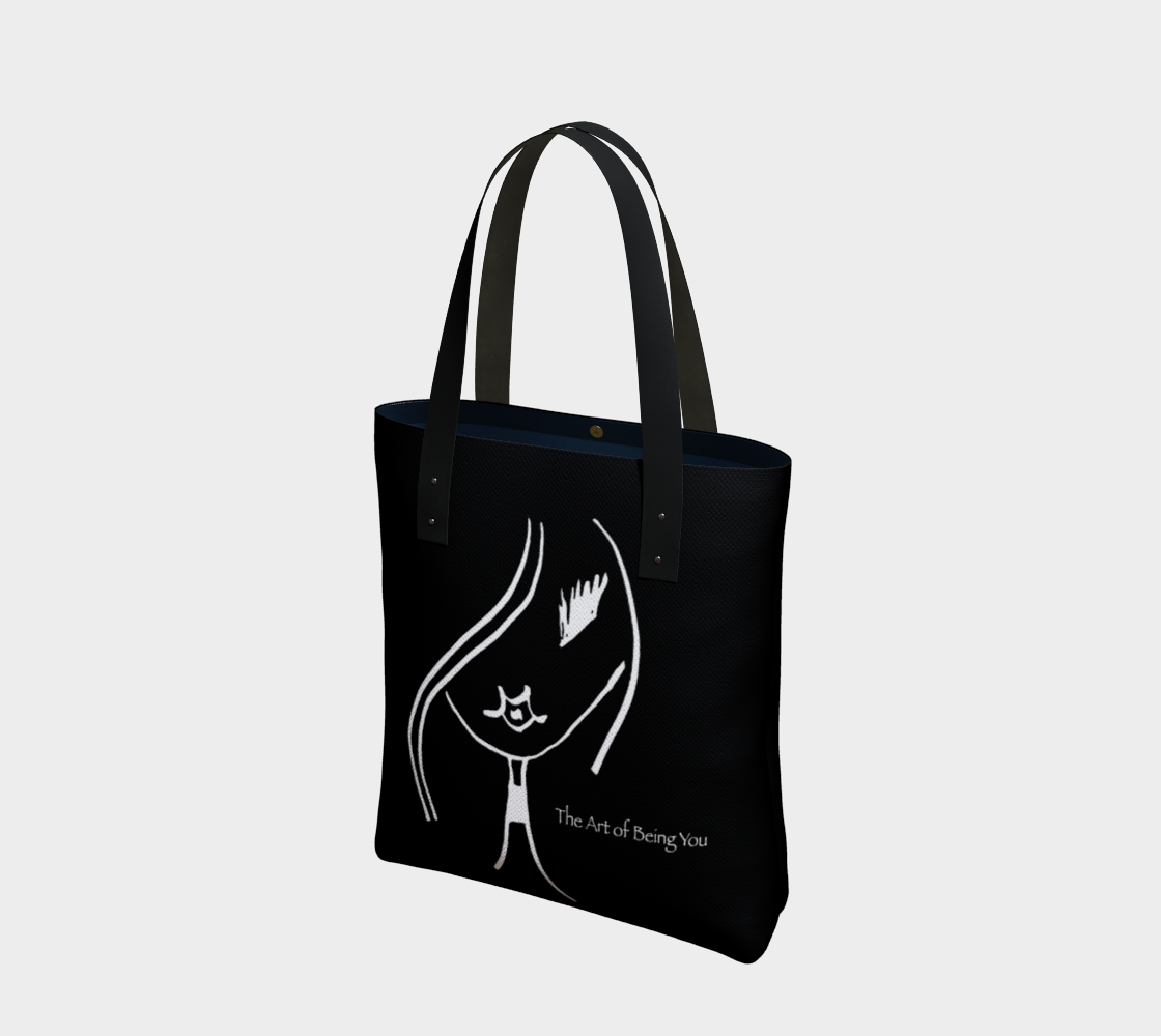 Barella Girl Black and White Basic Face Tote Bag