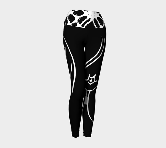 Barella Girl Black and White Basic Face Yoga Leggings - TAOBY