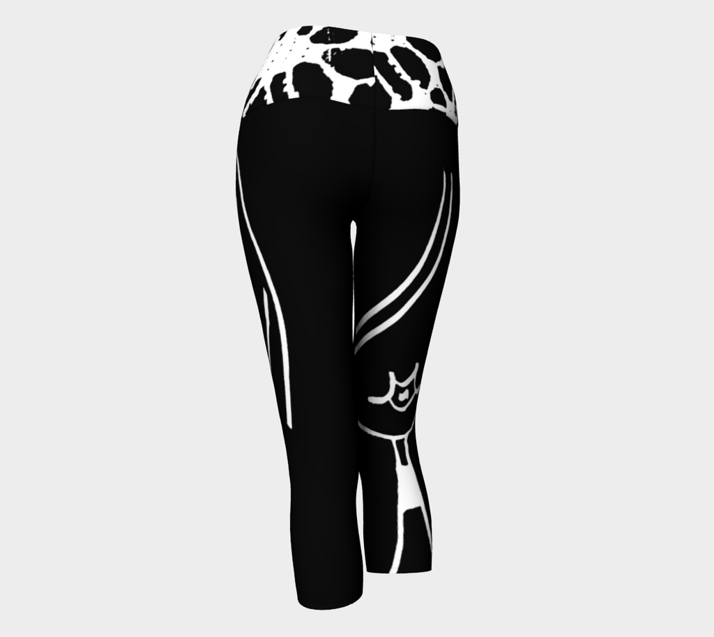 Barella Girl Black and White Basic Face  Yoga Capris