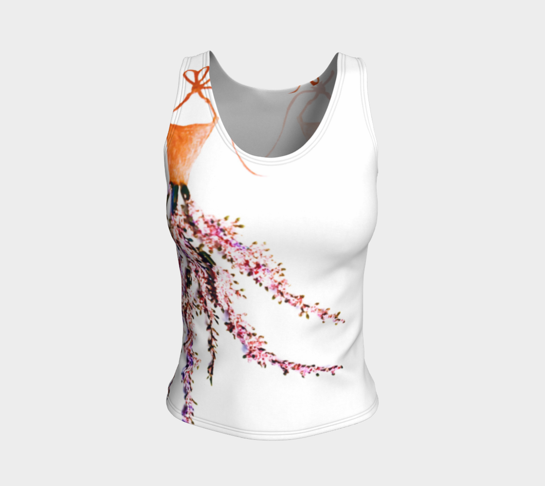 Barella Girl Orange Blossom White Fitted Tank Top