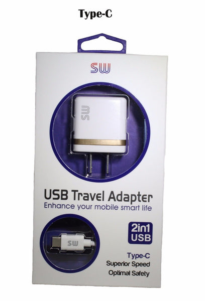 Premium Type-C for Galaxy S 8/S 8 Plus/ ZTE Max Pro Home/Wall 2 in 1 Charger USA