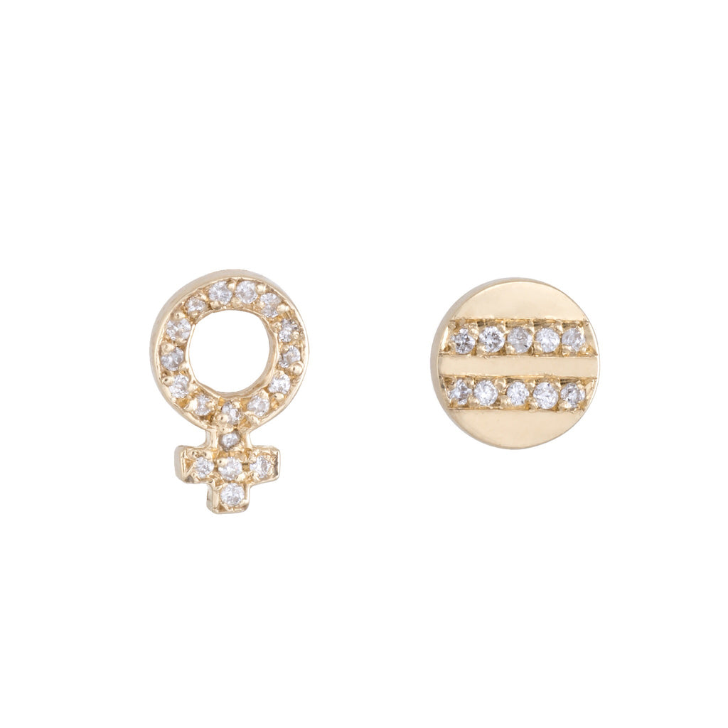 Female Equality Diamond Studs | The Storm Jewelry | Fine Jewelry