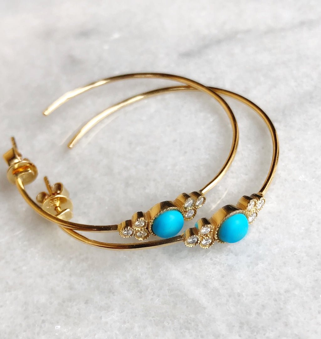 Turquoise and Diamond Bezel Hoops